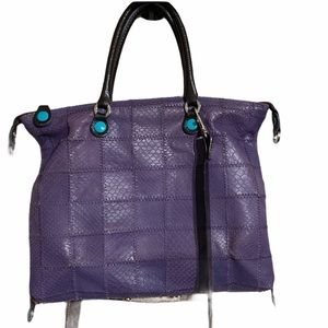 GABS Purple Leather Patchwork Convertible Bag